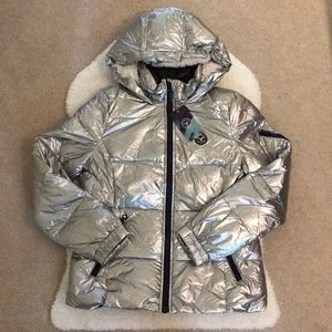 BNWT AEO Metallic Silver Puffer Jacket Sherpa Hood
